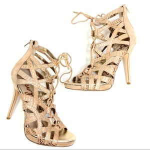 Vince Camuto | Leather Suede Lace Up Stiletto